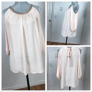 Tops - COLD SHOULDER PINK BLOUSE SIZE SMALL